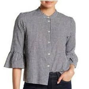 Madewell Gingham Bell Sleeve Top - M
